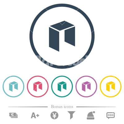 Neo digital cryptocurrency flat color icons in round outlines - Neo digital cryptocurrency flat color icons in round outlines. 6 bonus icons included.