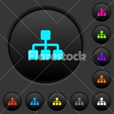 Network dark push buttons with color icons - Network dark push buttons with vivid color icons on dark grey background