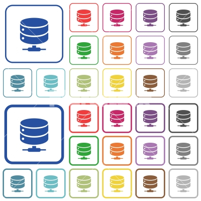 Network database outlined flat color icons - Network database color flat icons in rounded square frames. Thin and thick versions included.