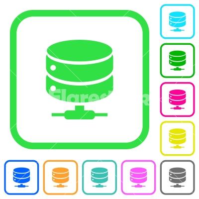 Network database vivid colored flat icons - Network database vivid colored flat icons in curved borders on white background