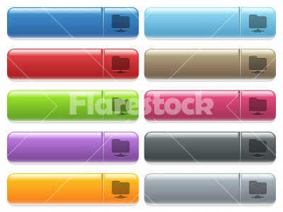 Network Directory icons on color glossy, rectangular menu button - Network Directory engraved style icons on long, rectangular, glossy color menu buttons. Available copyspaces for menu captions.