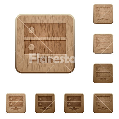 Network drive wooden buttons - Network drive on rounded square carved wooden button styles