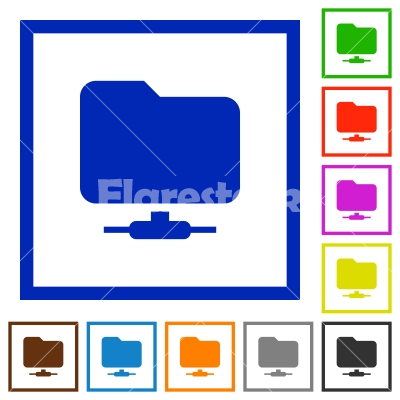 Network folder flat framed icons - Network folder flat color icons in square frames on white background