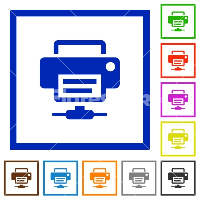 Network printer flat framed icons - Network printer flat color icons in square frames on white background