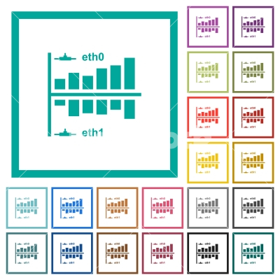 Network statistics flat color icons with quadrant frames - Network statistics flat color icons with quadrant frames on white background