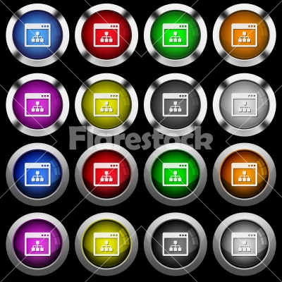 Networking application white icons in round glossy buttons on black background - Networking application white icons in round glossy buttons with steel frames on black background. The buttons are in two different styles and eight colors.