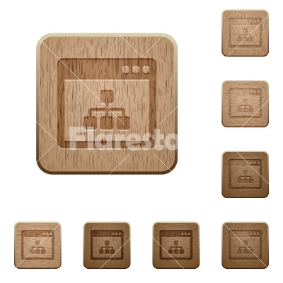 Networking application wooden buttons - Set of carved wooden networking application buttons in 8 variations.