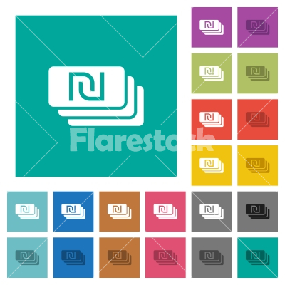 New Shekel banknotes square flat multi colored icons - New Shekel banknotes multi colored flat icons on plain square backgrounds. Included white and darker icon variations for hover or active effects.
