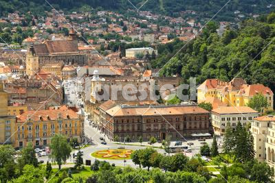 Nice cityscape - View of an old-fashioned city in Romania