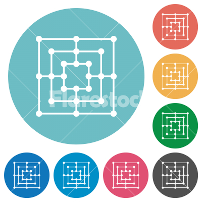 Nine men's morris game board flat round icons - Nine men's morris game board flat white icons on round color backgrounds