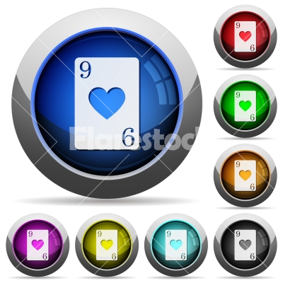 Nine of hearts card round glossy buttons - Nine of hearts card icons in round glossy buttons with steel frames