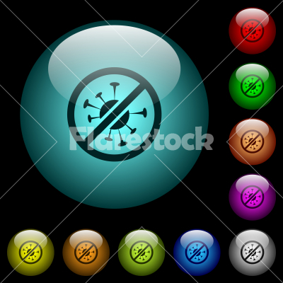 No covid icons in color illuminated glass buttons - No covid icons in color illuminated spherical glass buttons on black background. Can be used to black or dark templates