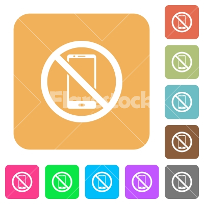 No smartphone rounded square flat icons - No smartphone flat icons on rounded square vivid color backgrounds.