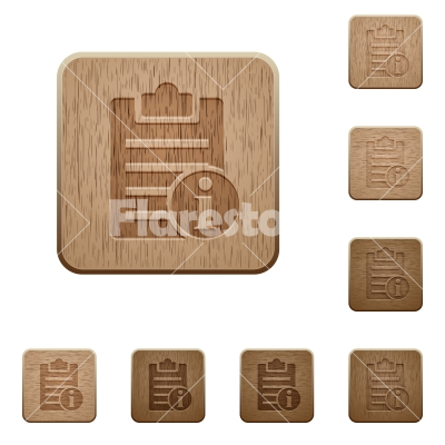 Note info wooden buttons - Note info on rounded square carved wooden button styles