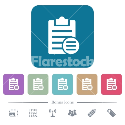 Note options flat icons on color rounded square backgrounds - Note options white flat icons on color rounded square backgrounds. 6 bonus icons included