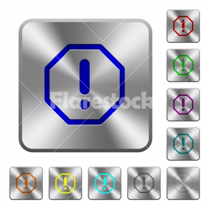Octagon shaped error sign rounded square steel buttons - Octagon shaped error sign engraved icons on rounded square glossy steel buttons