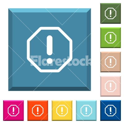 Octagon shaped error sign white icons on edged square buttons - Octagon shaped error sign white icons on edged square buttons in various trendy colors