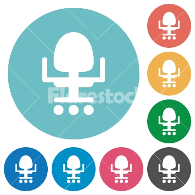 Office chair flat round icons - Office chair flat white icons on round color backgrounds