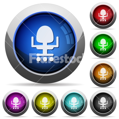 Office chair round glossy buttons - Office chair icons in round glossy buttons with steel frames