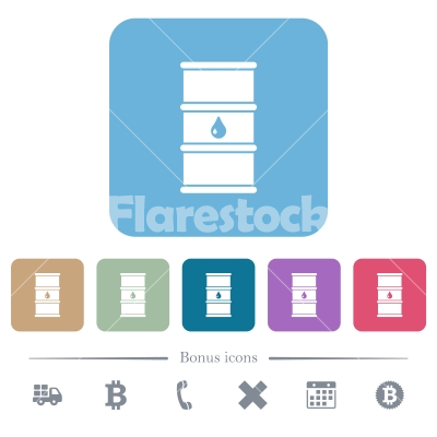 Oil barrel flat icons on color rounded square backgrounds - Oil barrel white flat icons on color rounded square backgrounds. 6 bonus icons included