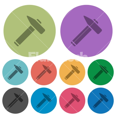 Old hammer color darker flat icons - Old hammer darker flat icons on color round background