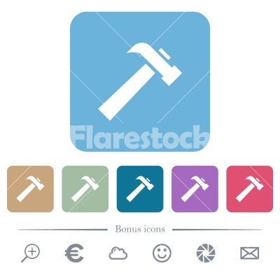 Old hammer flat icons on color rounded square backgrounds - Old hammer white flat icons on color rounded square backgrounds. 6 bonus icons included