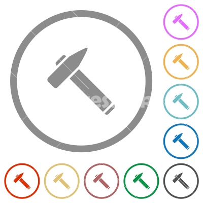 Old hammer flat icons with outlines - Old hammer flat color icons in round outlines on white background