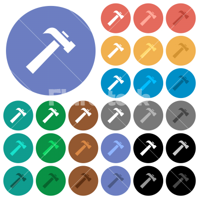 Old hammer round flat multi colored icons - Old hammer multi colored flat icons on round backgrounds. Included white, light and dark icon variations for hover and active status effects, and bonus shades. - Free stock vector