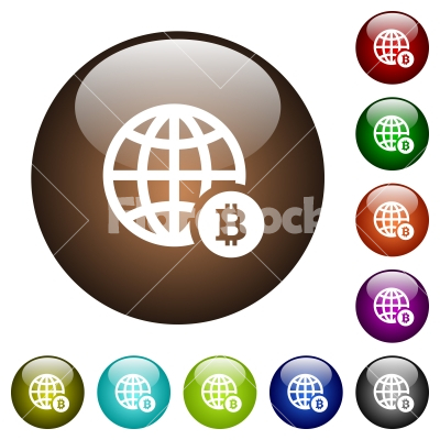 Online Bitcoin payment color glass buttons - Online Bitcoin payment white icons on round color glass buttons