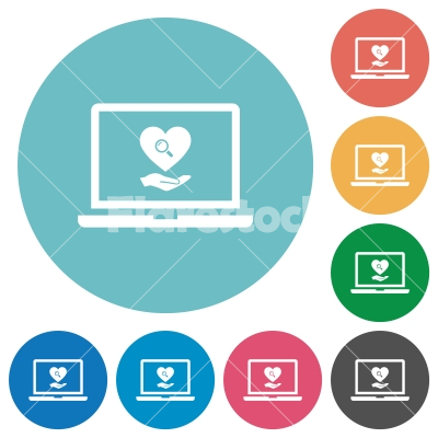 Online Dating on laptop flat round icons - Online Dating on laptop flat white icons on round color backgrounds