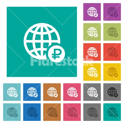 Online Ruble payment square flat multi colored icons - Online Ruble payment multi colored flat icons on plain square backgrounds. Included white and darker icon variations for hover or active effects.