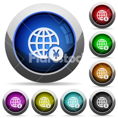 Online Yen payment round glossy buttons - Online Yen payment icons in round glossy buttons with steel frames