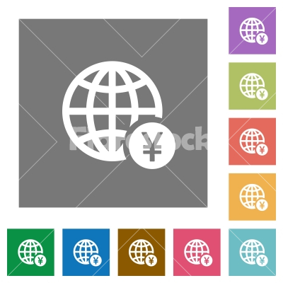 Online Yen payment square flat icons - Online Yen payment flat icons on simple color square backgrounds