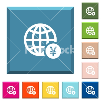 Online Yen payment white icons on edged square buttons - Online Yen payment white icons on edged square buttons in various trendy colors