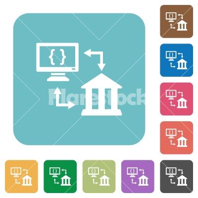 Open banking API rounded square flat icons - Open banking API white flat icons on color rounded square backgrounds