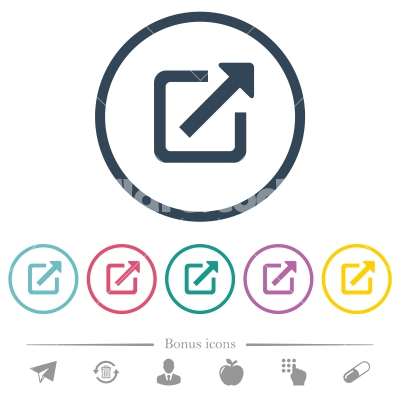 Open in new window flat color icons in round outlines - Open in new window flat color icons in round outlines. 6 bonus icons included. - Free stock vector