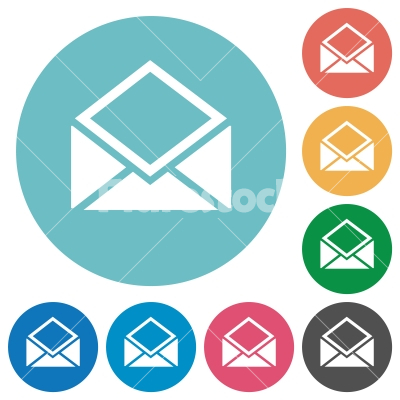 Open mail flat round icons - Open mail flat white icons on round color backgrounds - Free stock vector