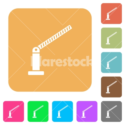 Opened barrier rounded square flat icons - Opened barrier flat icons on rounded square vivid color backgrounds.