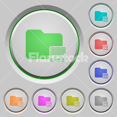 Organize folder push buttons - Organize folder color icons on sunk push buttons - Free stock vector