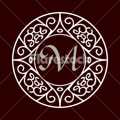 ornate monogram frame m ornate frame for monogram logo or other symbol - Monogram Picture Frame