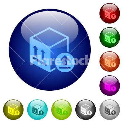 Package delivery color glass buttons - Package delivery icons on round color glass buttons - Free stock vector