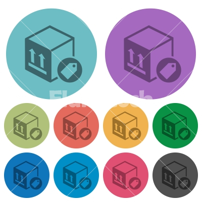 Package labeling color darker flat icons - Package labeling darker flat icons on color round background