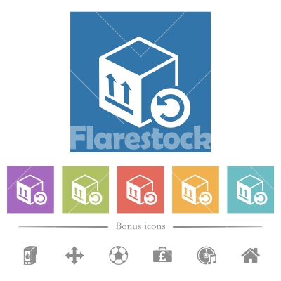 Package return flat white icons in square backgrounds - Package return flat white icons in square backgrounds. 6 bonus icons included.