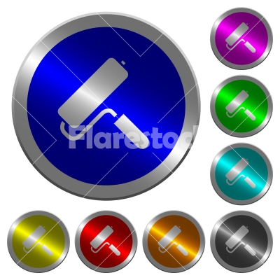Paint roller luminous coin-like round color buttons - Paint roller icons on round luminous coin-like color steel buttons