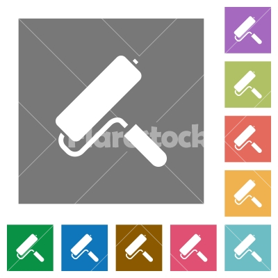 Paint roller square flat icons - Paint roller flat icons on simple color square backgrounds