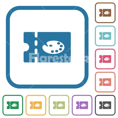 Paint shop discount coupon simple icons - Paint shop discount coupon simple icons in color rounded square frames on white background