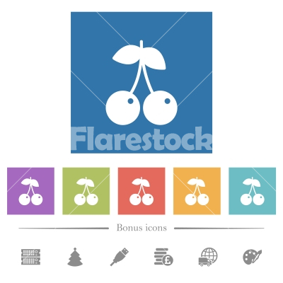 Pair of cherry flat white icons in square backgrounds - Pair of cherry flat white icons in square backgrounds. 6 bonus icons included.