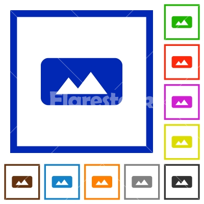 Panorama picture flat framed icons - Stock vector - Flarestock