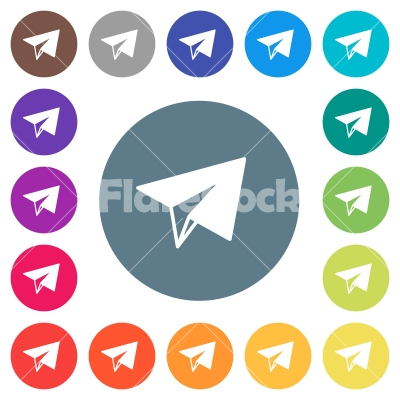 Paper plane flat white icons on round color backgrounds - Paper plane flat white icons on round color backgrounds. 17 background color variations are included.