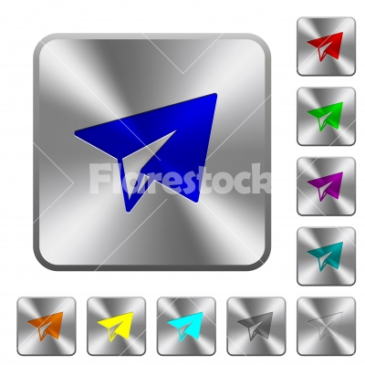 Paper plane rounded square steel buttons - Paper plane engraved icons on rounded square glossy steel buttons